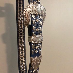 Ladies bling belt NAVY with clear crystals